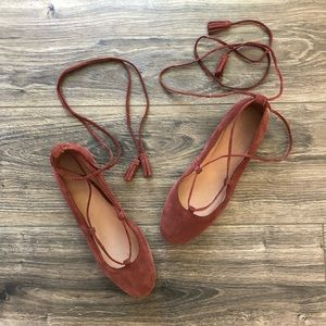 Madewell Rust Suede Lace Up Flats